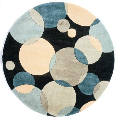 Rita Hand-Tufted Blue/Black/Beige Area Rug Rug Size: Round 59