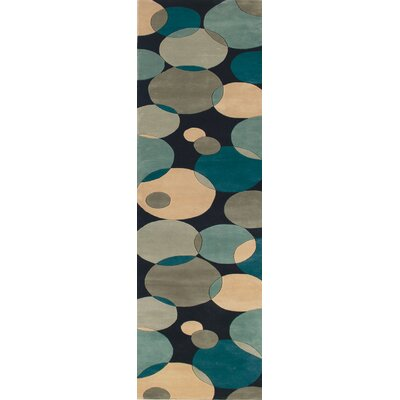 Rita Hand-Tufted Blue/Black/Beige Area Rug Rug Size: Runner 26 x 8