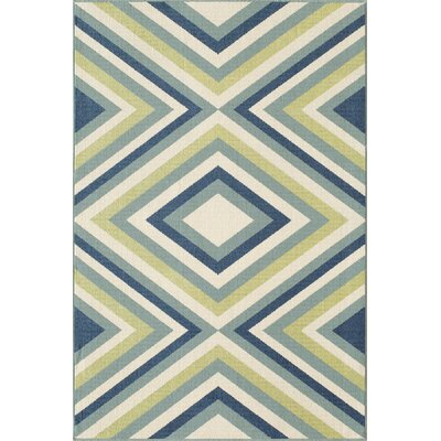 Wexler Blue/Green Indoor/Outdoor Area Rug Rug Size: Rectangle 23 x 46