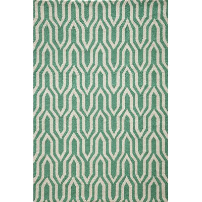 Trent Hand-Hooked Green Area Rug Rug Size: Rectangle 5 x 7