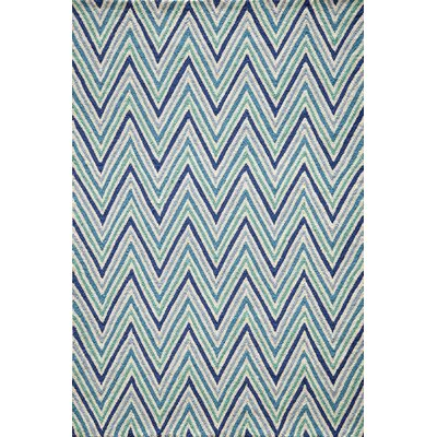 Trent Hand-Hooked Blue Area Rug Rug Size: Rectangle 76 x 96