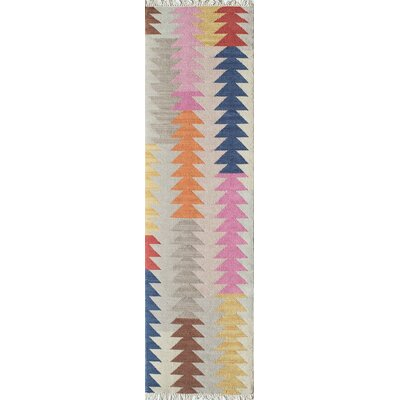 Marianne Hand-Woven Gray/Pink/Blue Area Rug Rug Size: Runner 23 x 8