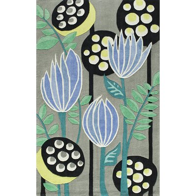 Hand-Tufted Black/Green/Blue Area Rug Rug Size: 36 x 56