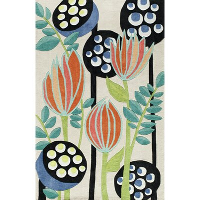 Hand-Tufted Blue/Green/Beige Area Rug Rug Size: 36 x 56