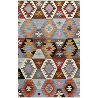 Marianne Hand-Woven Brown/Blue/Gray Area Rug Rug Size: 2' x 3'