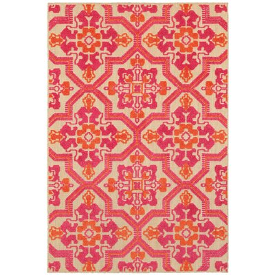 Sawin Sand/Pink Indoor/Outdoor Area Rug Size: Rectangle 53 x 76