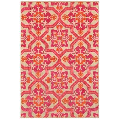 Sawin Sand/Pink Indoor/Outdoor Area Rug Size: 53 x 76