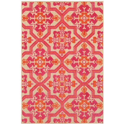 Sawin Sand/Pink Indoor/Outdoor Area Rug Size: 67 x 96