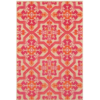 Sawin Sand/Pink Indoor/Outdoor Area Rug Size: 710 x 1010