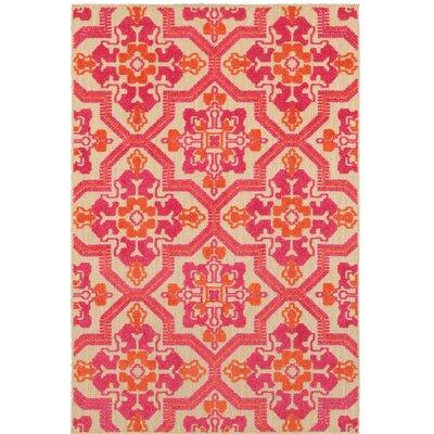 Sawin Sand/Pink Indoor/Outdoor Area Rug Size: 7'10