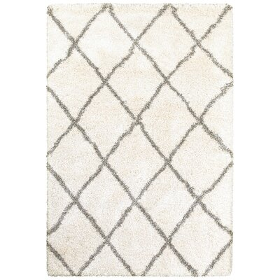 Sayer Ivory/Gray Area Rug Size: Rectangle 53 x 76