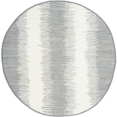 Lotie Hand-Woven Gray Area Rug Rug Size: Round 6