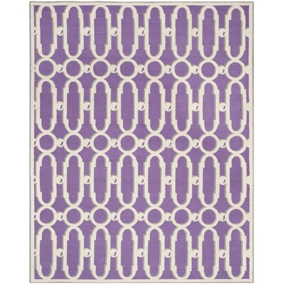 Sheeran Purple/White Geometric Area Rug Rug Size: Rectangle 79 x 99