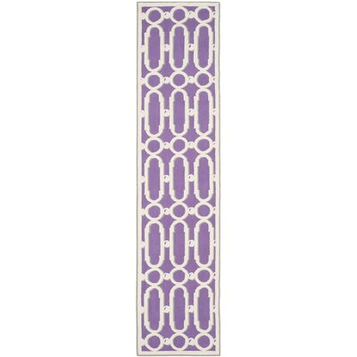 Sheeran Purple/White Geometric Area Rug Rug Size: Runner 23 x 10