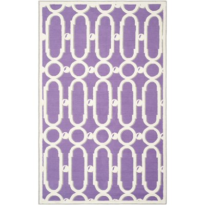 Sheeran Purple/White Geometric Area Rug Rug Size: 56 x 86