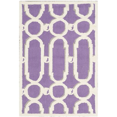 Sheeran Purple/White Geometric Area Rug Rug Size: Rectangle 2 x 3