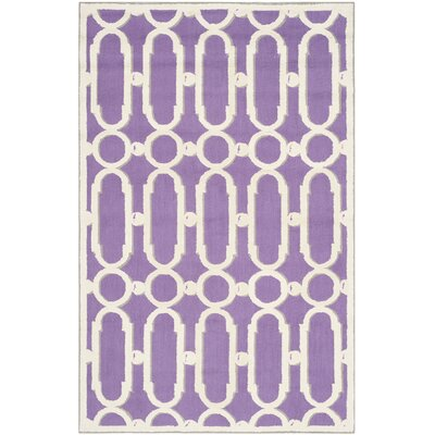Sheeran Purple/White Geometric Area Rug Rug Size: 39 x 59