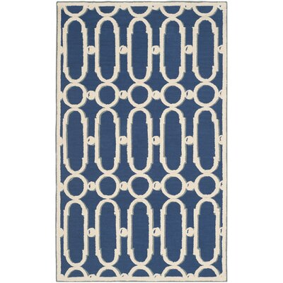 Sheeran Royal Blue/White Geometric Area Rug Rug Size: 39 x 59