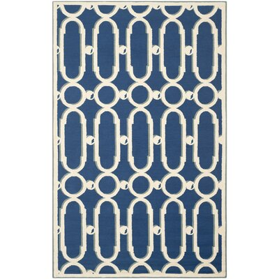 Sheeran Royal Blue/White Geometric Area Rug Rug Size: Rectangle 56 x 86