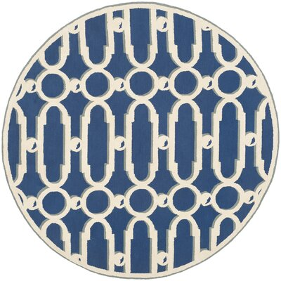 Sheeran Royal Blue/White Geometric Area Rug Rug Size: Round 6