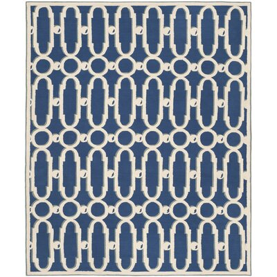 Sheeran Royal Blue/White Geometric Area Rug Rug Size: 79 x 99
