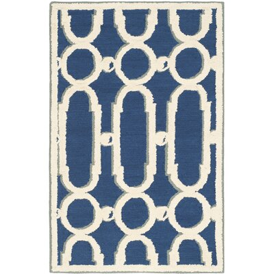 Sheeran Royal Blue/White Geometric Area Rug Rug Size: Rectangle 2 x 3