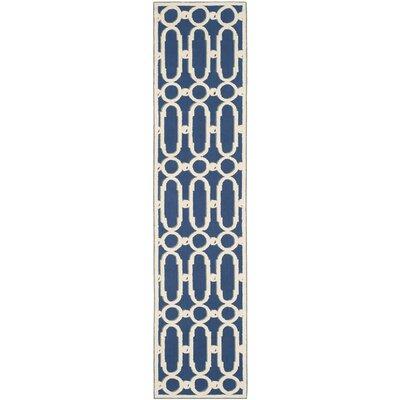 Sheeran Royal Blue/White Geometric Area Rug Rug Size: Runner 23 x 10