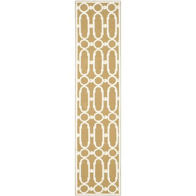 Sheeran Olive/White Geometric Area Rug Rug Size: Runner 23 x 10