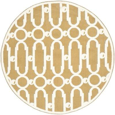 Sheeran Olive/White Geometric Area Rug Rug Size: Round 6