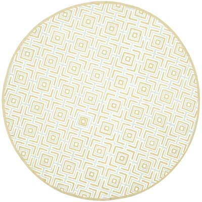 Sheeran Olive/Light Blue Area Rug Rug Size: Round 6