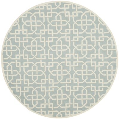 Sheeran Light Blue/White Area Rug Rug Size: Round 6