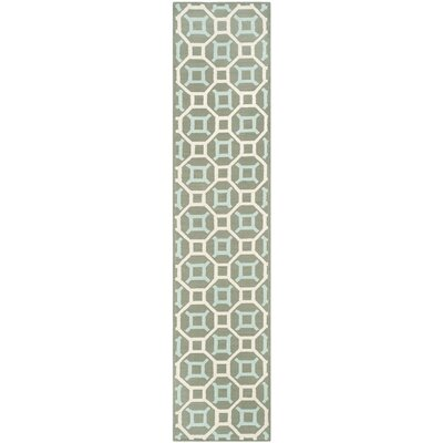 Sheeran Hand-Woven Cotton Aquamarine/White Area Rug Rug Size: Runner 23 x 10