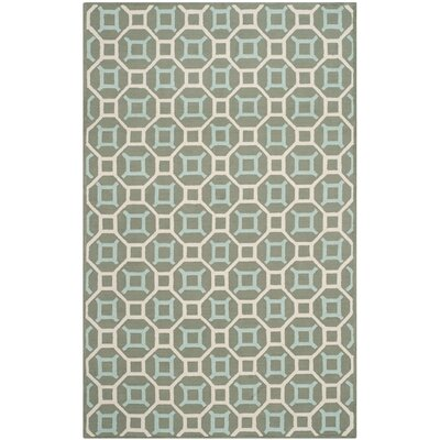 Sheeran Hand-Woven Cotton Aquamarine/White Area Rug Rug Size: Rectangle 79 x 99