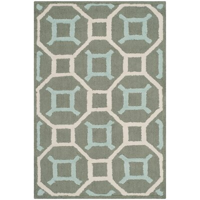 Sheeran Hand-Woven Cotton Aquamarine/White Area Rug Rug Size: Rectangle 2 x 3