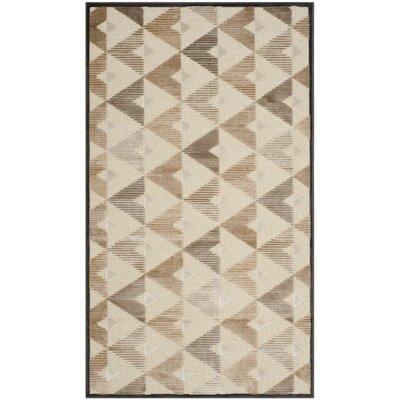 Scharff Soft Anthracite / Cream Geometric Area Rug Rug Size: 33 x 57
