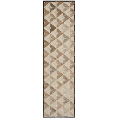 Scharff Soft Anthracite / Cream Geometric Area Rug Rug Size: Runner 22 x 8