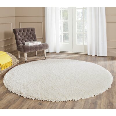 Sparrow Shag Ivory Solid Rug Rug Size: Round 6