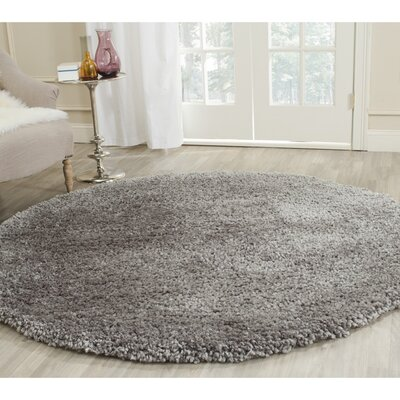 Sparrow Shag Silver Solid Rug Rug Size: Round 6