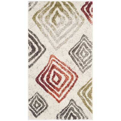 Shroyer Ivory/Green Area Rug Rug Size: Rectangle 2 x 37