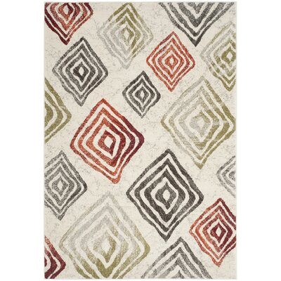 Shroyer Ivory / Green Geometric Rug Rug Size: 53 x 77