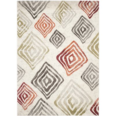 Shroyer Ivory/Green Area Rug Rug Size: Rectangle 8 x 112