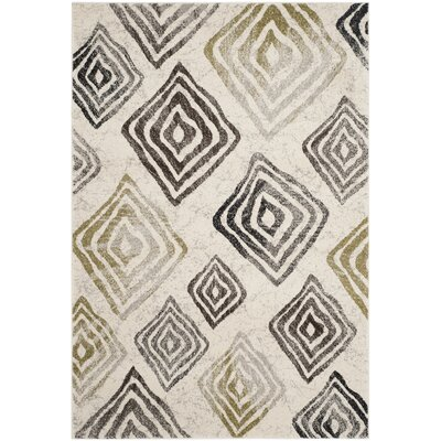 Shroyer Geometric Ivory/Black Area Rug Rug Size: Rectangle 8 x 112
