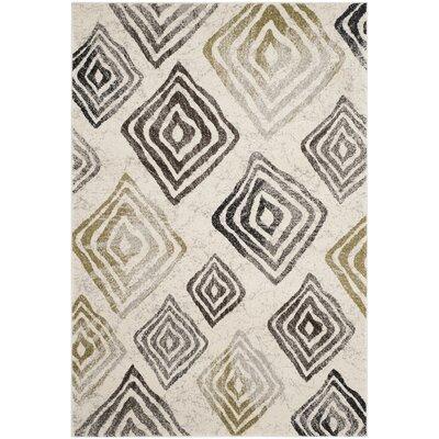 Shroyer Ivory / Brown Geometric Rug Rug Size: 67 x 96