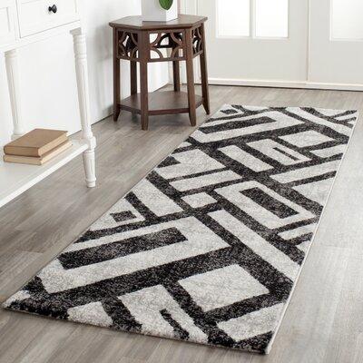 Shroyer Black / Gray Area Rug Rug Size: Runner 27 x 5