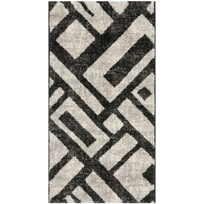 Shroyer Black / Gray Area Rug Rug Size: Rectangle 2 x 37