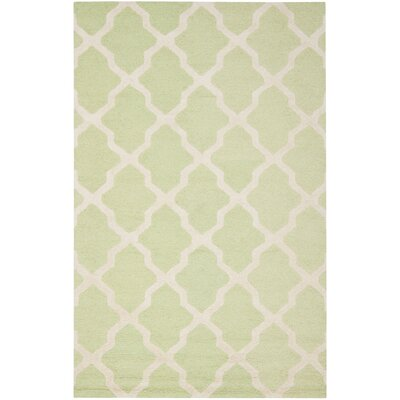 Charlenne Hand-Tufted/Hand-Hooked Light Green/Ivory Area Rug Rug Size: Rectangle 5 x 8