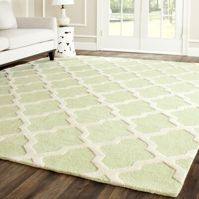 Charlenne Hand-Tufted/Hand-Hooked Light Green/Ivory Area Rug Rug Size: Rectangle 9 x 12
