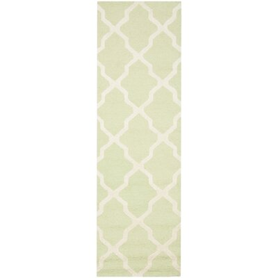 Charlenne Hand-Tufted/Hand-Hooked Light Green/Ivory Area Rug Rug Size: Runner 26 x 10