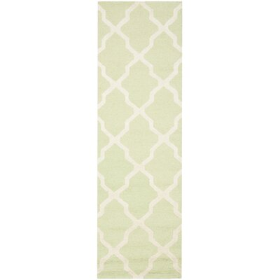 Charlenne Hand-Tufted/Hand-Hooked Light Green/Ivory Area Rug Rug Size: Runner 26 x 12