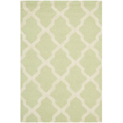 Charlenne Light Green/Ivory Area Rug Rug Size: 4 x 6